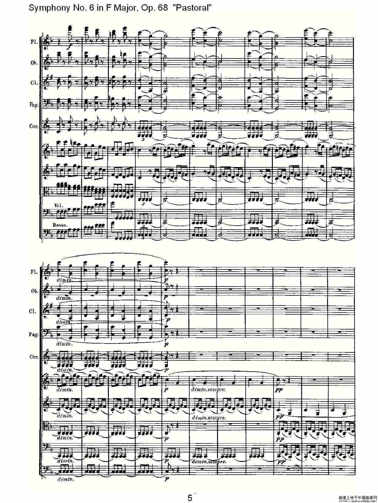 送别的f谱子-曲谱 F大调第六交响曲 Op.68第一乐章
