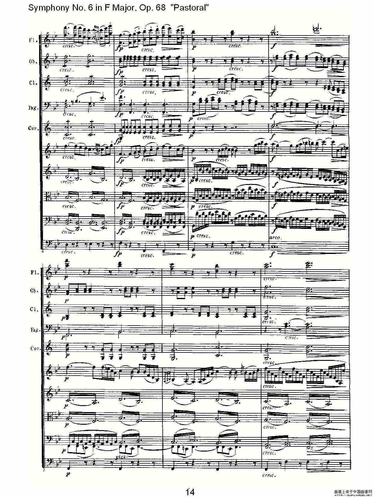 送别的f谱子-曲谱 F大调第六交响曲 Op.68第二乐章
