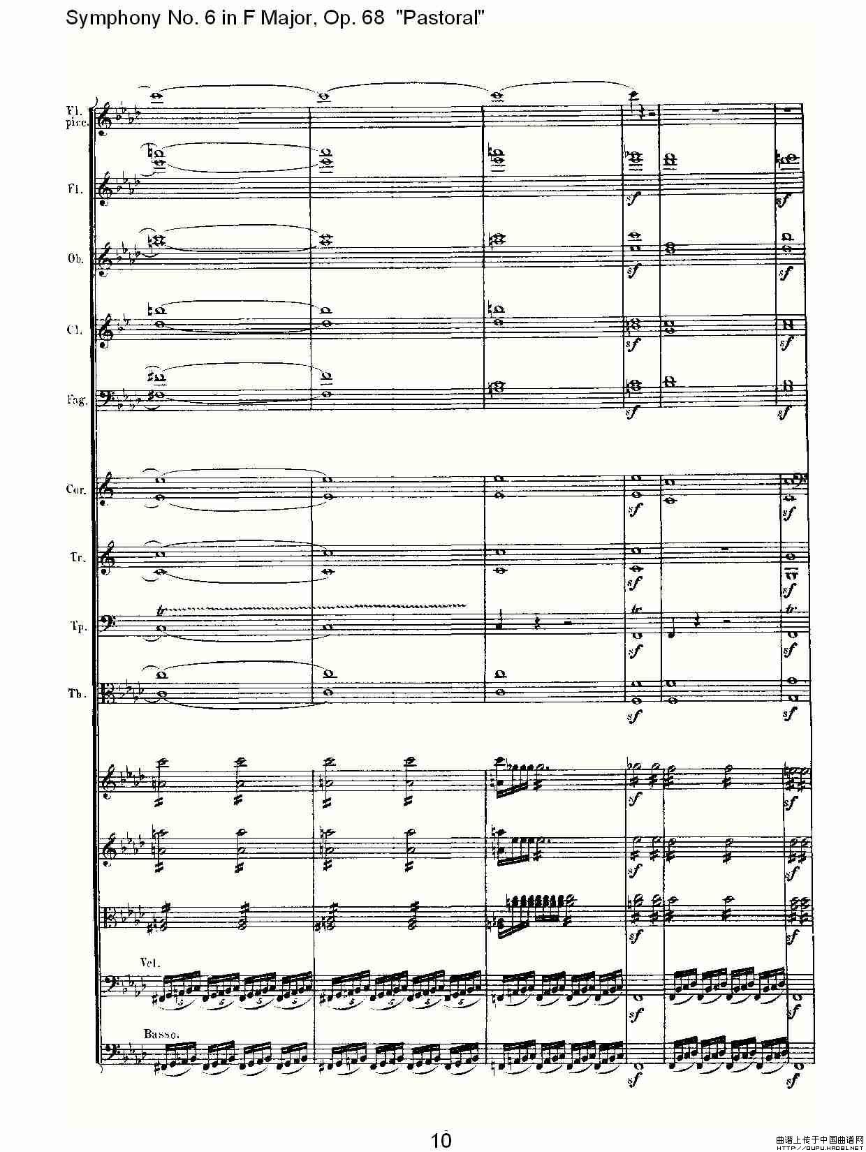 送别的f谱子-曲谱 F大调第六交响曲 Op.68第四乐章