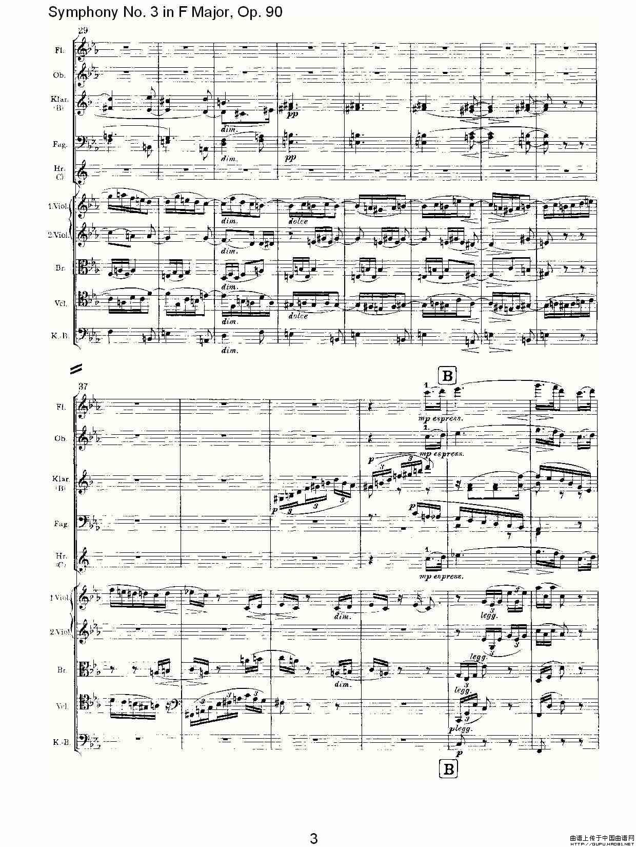 送别的f谱子-曲谱 F大调第三交响曲, Op.90第三乐章