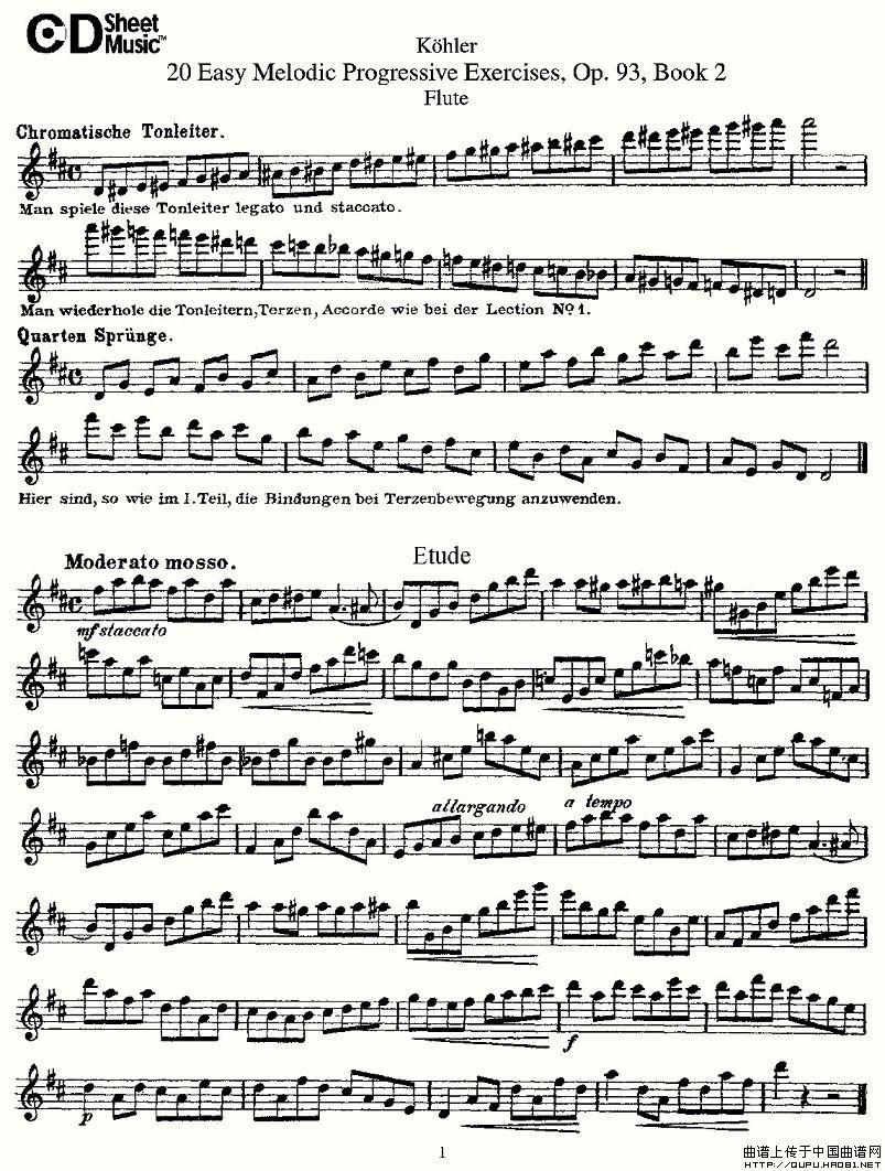柯勒练习曲作品93号长笛谱 二 器乐乐谱 中国曲谱网 -柯勒练习曲作品