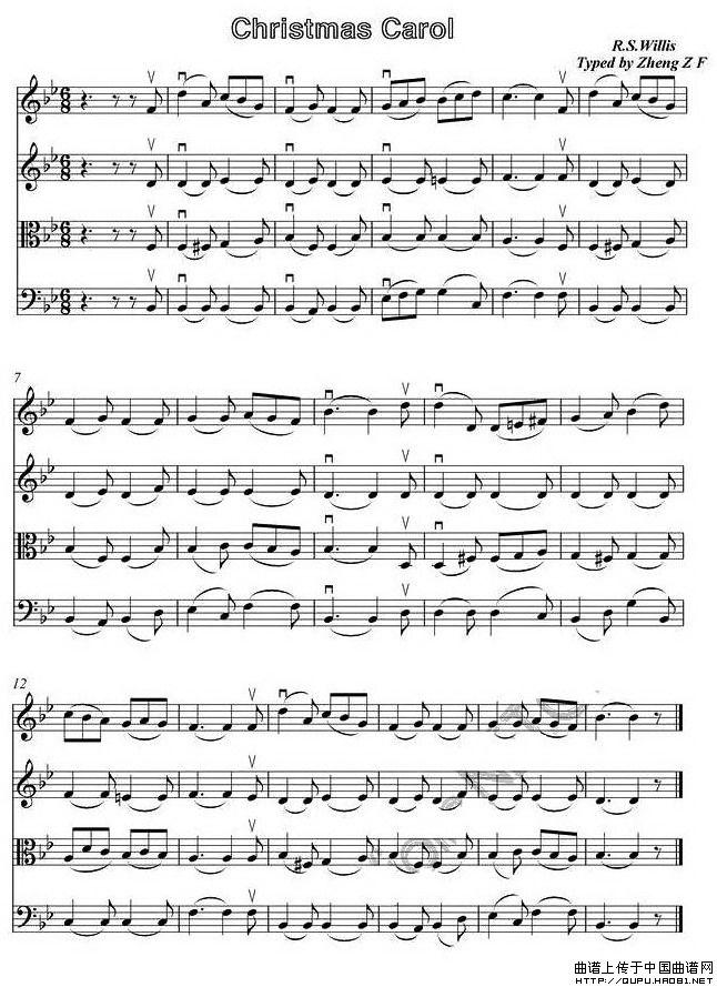 曲谱 圣诞合唱 四重奏谱小提琴谱