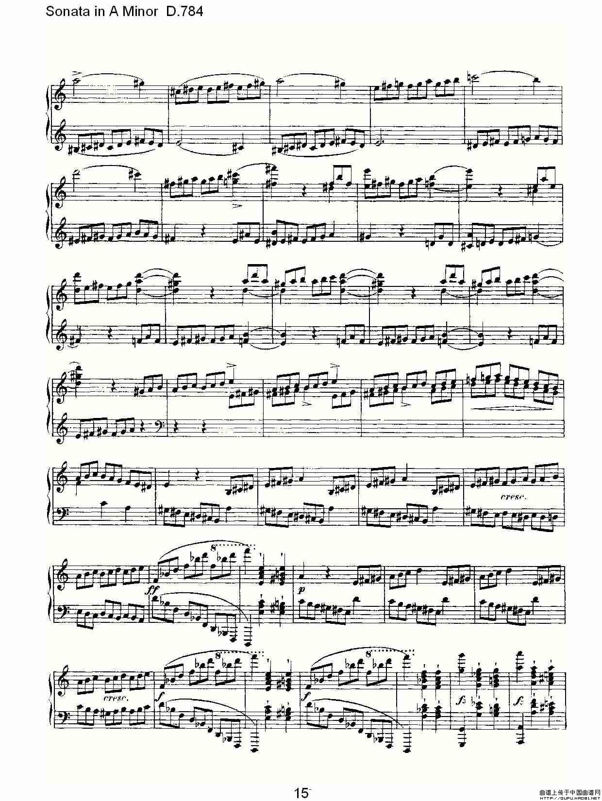 784钢琴谱 A小调奏鸣曲D.784 器乐乐谱 中国曲谱网