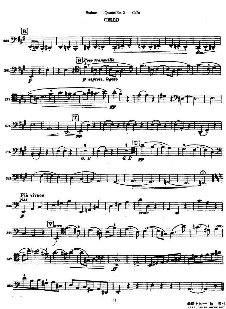 本站注:四重奏的大提琴分谱