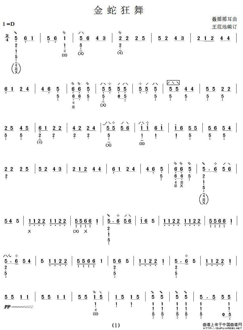 简谱 五线谱 琵琶乐谱 器乐乐谱