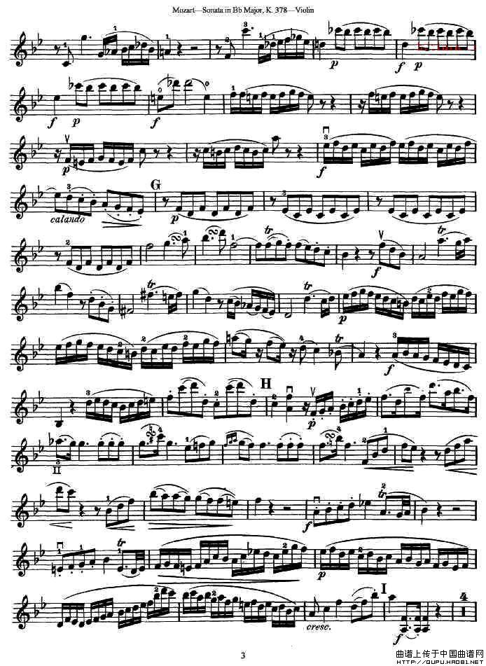莫扎特小提琴奏鸣曲降B大调提琴谱 k.378 器乐乐谱 中国曲谱网 -莫扎
