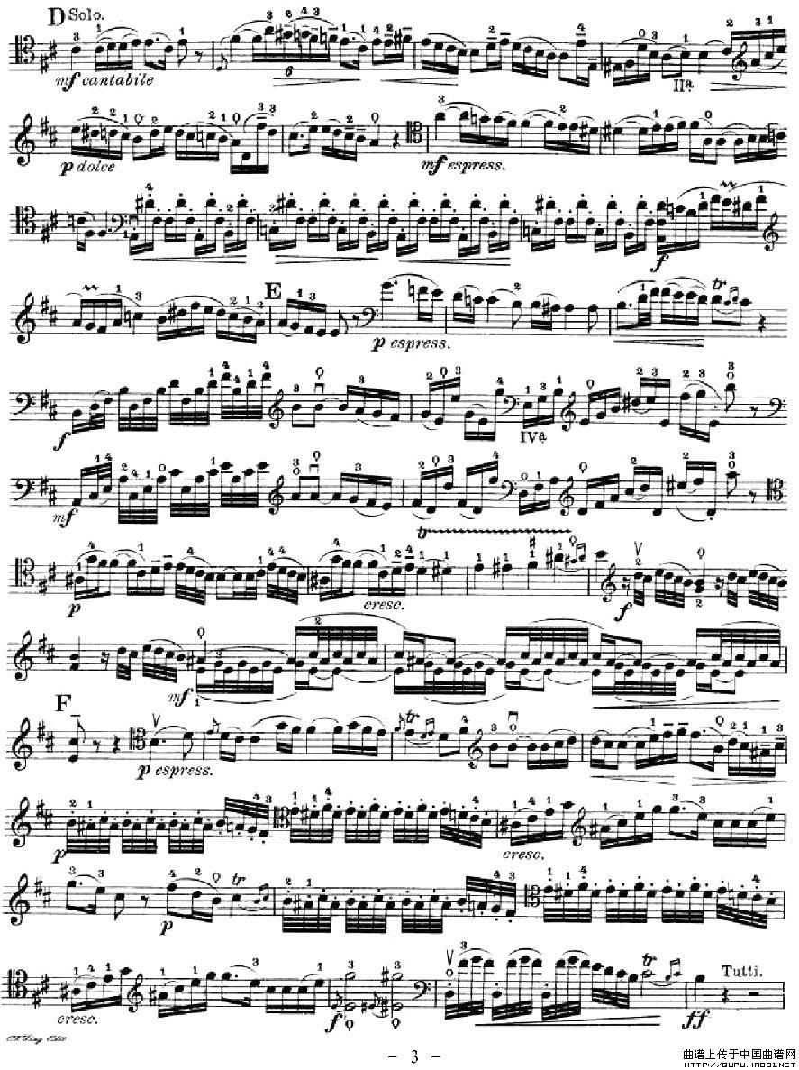 jor提琴谱 海顿D大调大提琴协奏曲 器乐乐谱 中国曲谱网