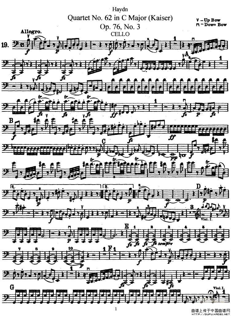 皇帝提琴谱 四重奏大提琴分谱 器乐乐谱 中国曲谱网