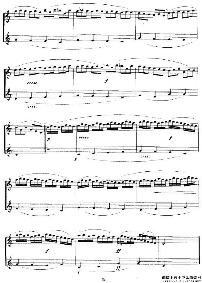 变奏的加沃特萨克斯谱 二重奏 器乐乐谱 中国曲谱网图片