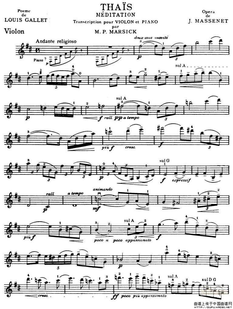 版本二:转自《曲谱歌谱大全》-沉思提琴谱 选自歌剧 泰伊思 器乐乐谱