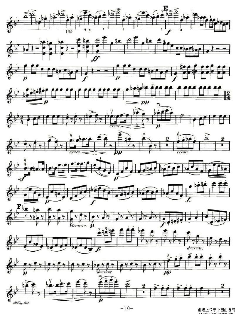 钢琴,小提琴,大提琴三重奏 Op.99之小提琴分谱 提琴谱 中国曲谱网