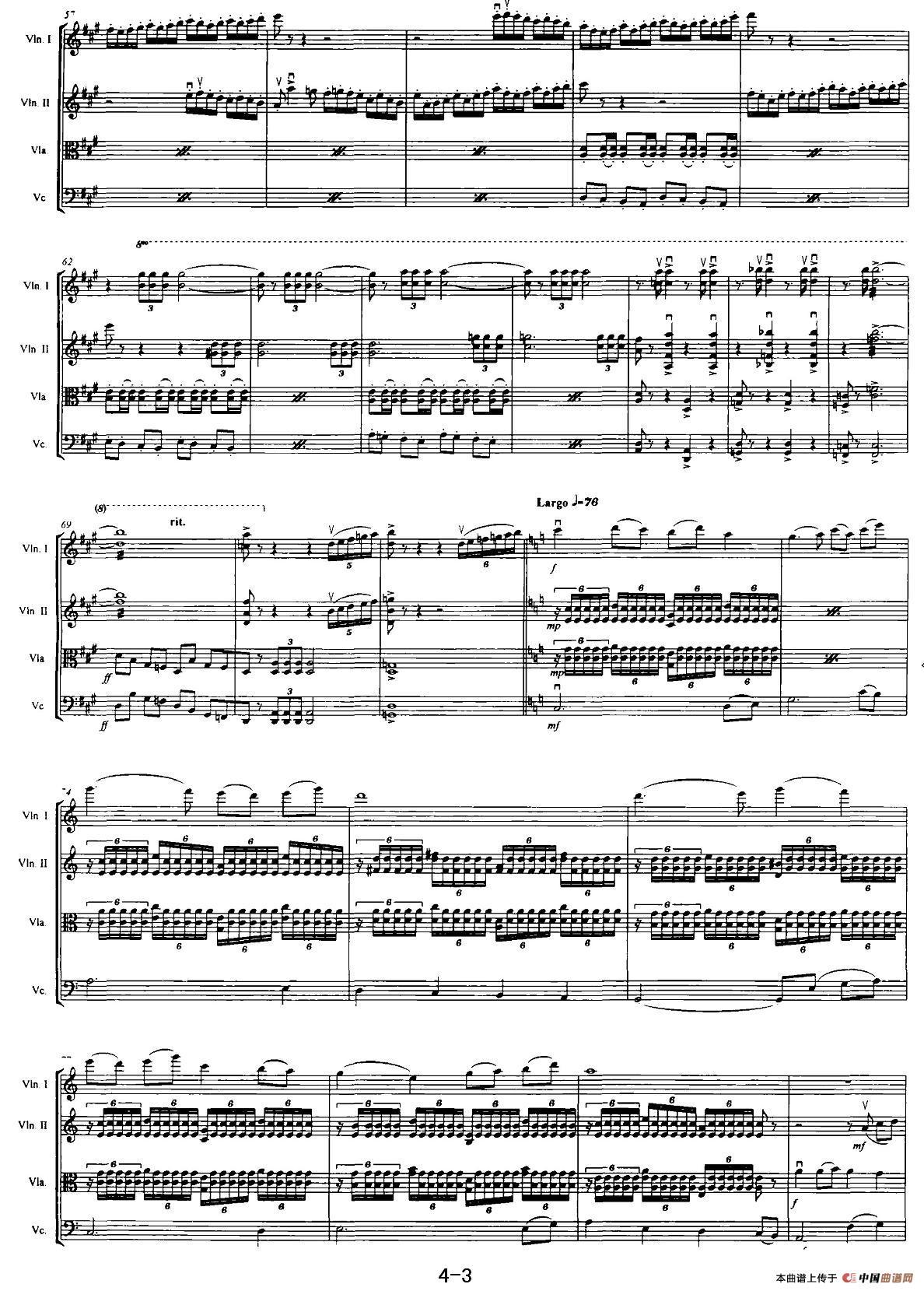 红旗颂提琴谱(弦乐四重奏)