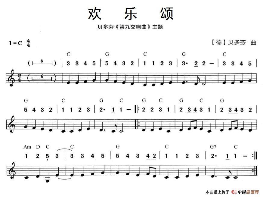 欢乐颂(贝多芬《第九交响曲》主题)(线简谱混排版)图片