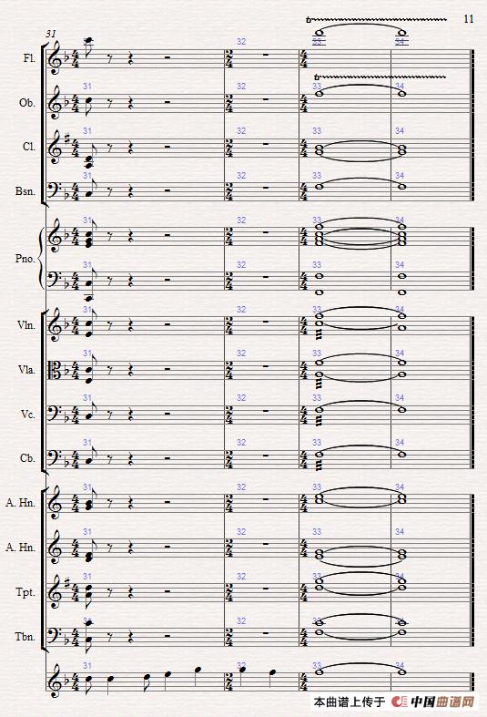 感恩简谱 管弦乐总谱 谱友园地 中国曲谱网 -感恩 管弦乐总谱