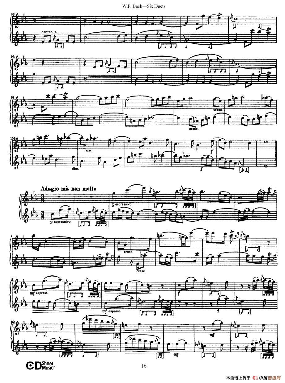 uets 6首二重奏 萨克斯谱 3 器乐乐谱 中国曲谱网图片
