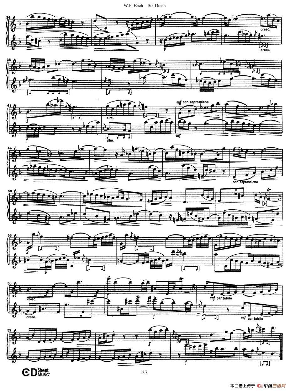 uets 6首二重奏 萨克斯谱 4 器乐乐谱 中国曲谱网图片
