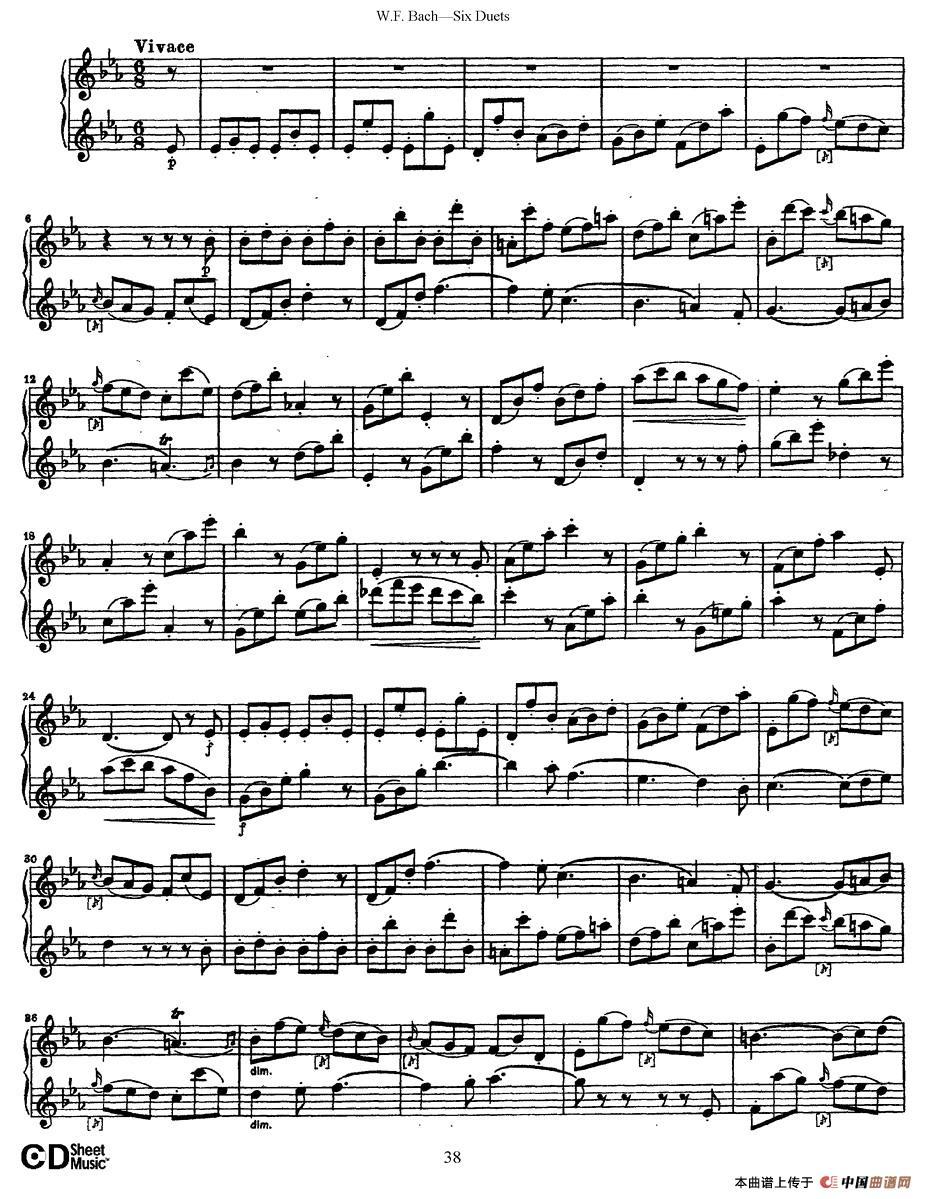 uets 6首二重奏 萨克斯谱 5 器乐乐谱 中国曲谱网图片
