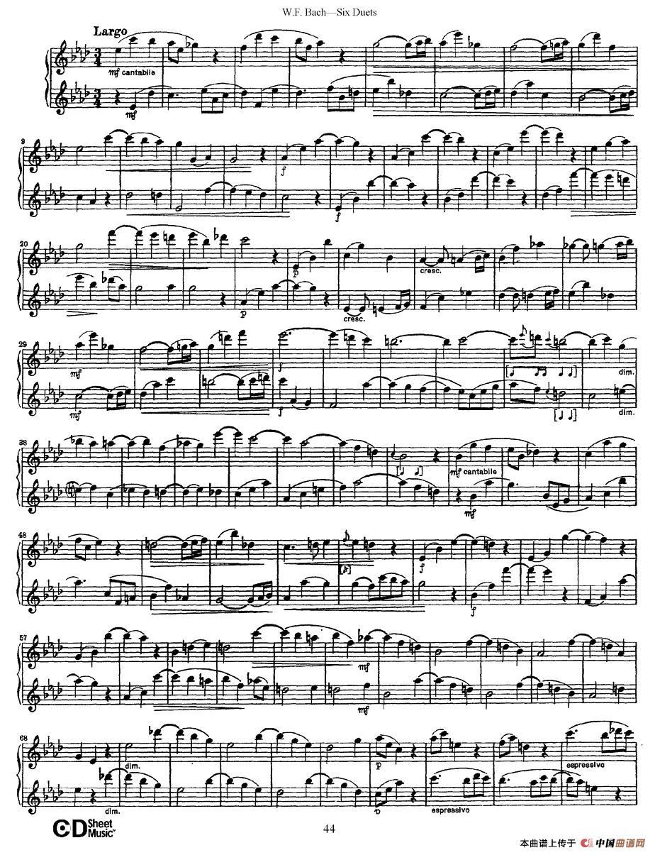 uets 6首二重奏 萨克斯谱 6 器乐乐谱 中国曲谱网图片