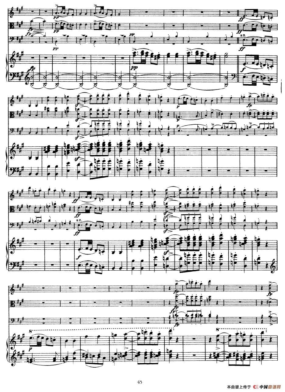 曲谱 A大调鳟鱼五重奏 P41 50 弦乐 钢琴 -A大调鳟鱼五重奏 P41 50 弦