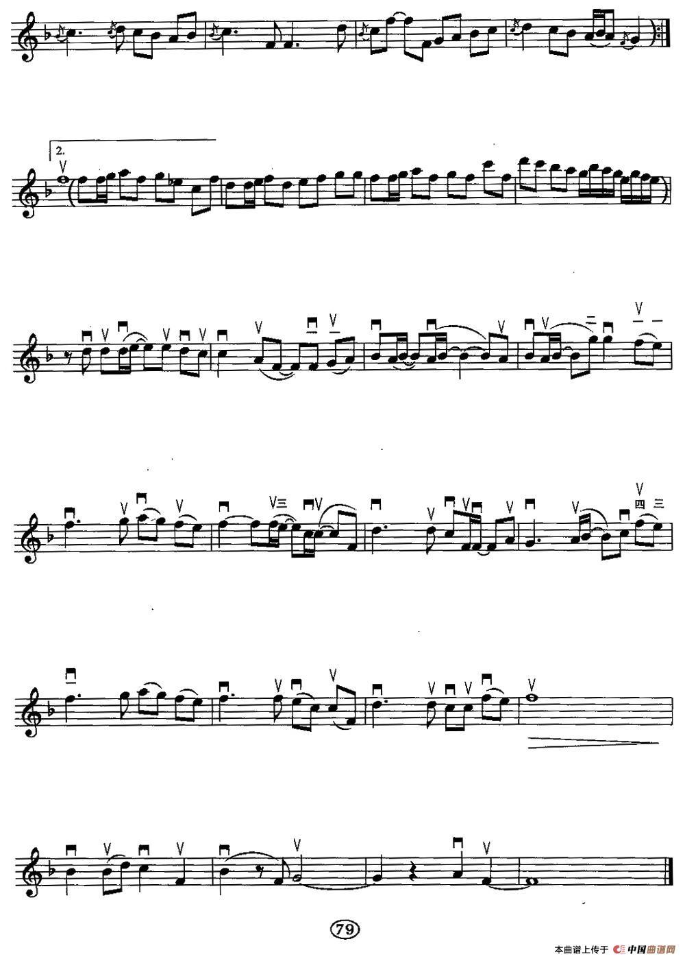 简谱-挥着翅膀的女孩二胡谱 胡琴谱 器乐乐谱 中国曲谱网
