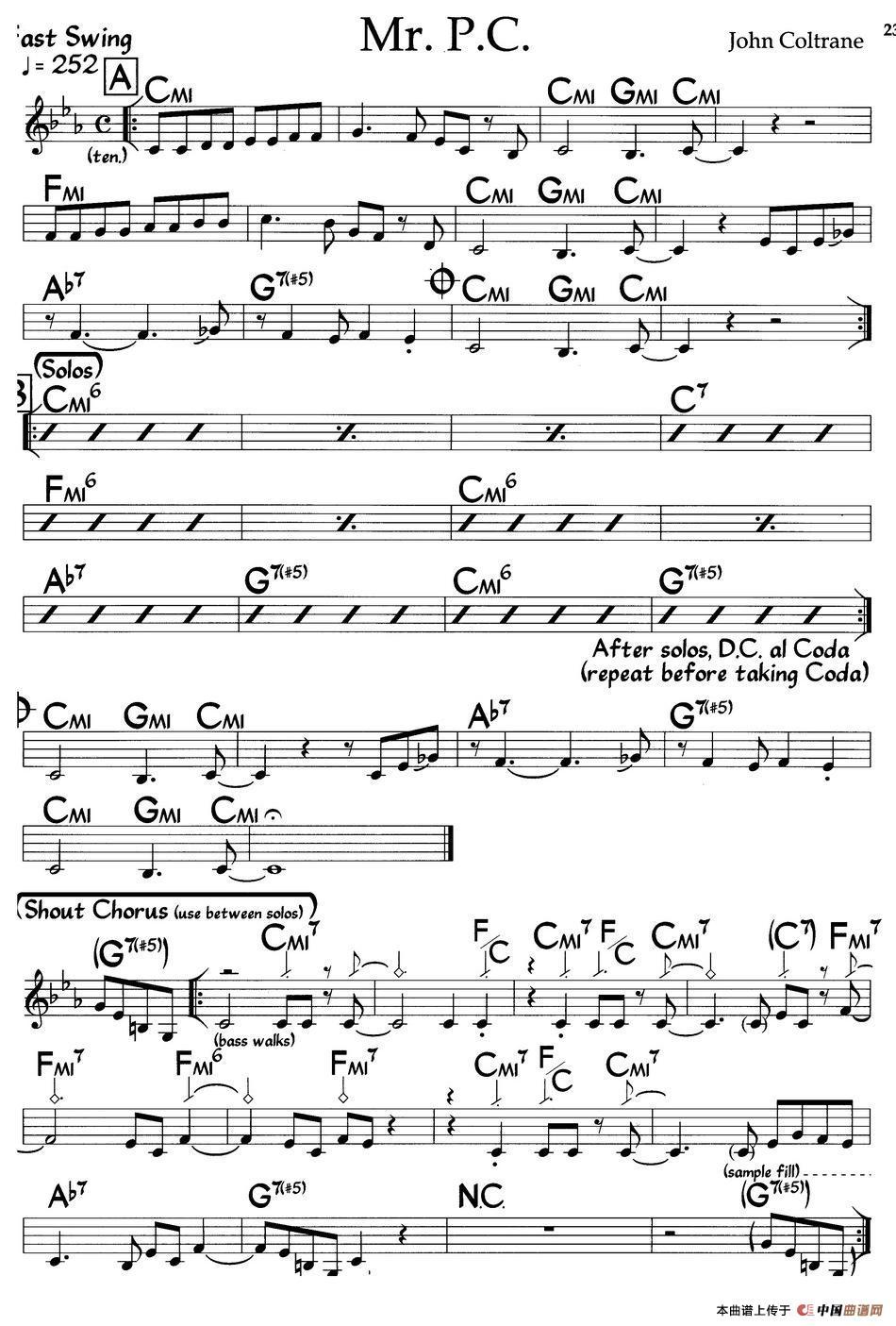 钢琴谱(爵士钢琴曲)_器乐乐谱_中国曲谱网图片