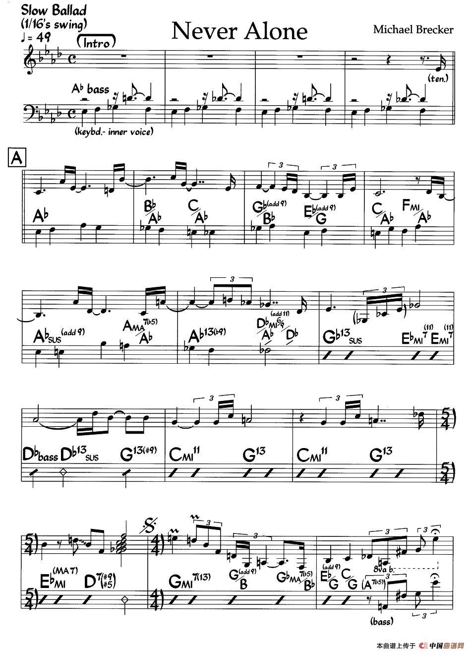 Never Alone钢琴谱 爵士钢琴曲 器乐乐谱 中国曲谱网