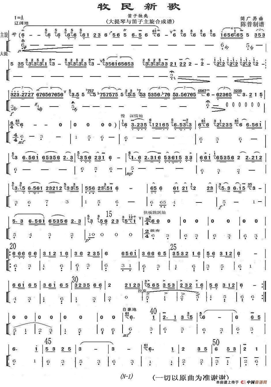 曲谱:牧民新歌(大提琴与笛子主旋合成谱)