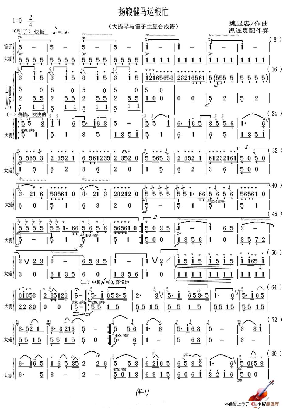 曲谱 扬鞭催马运粮忙 大提琴与笛子主旋合成谱 -扬鞭催马运粮忙 大提