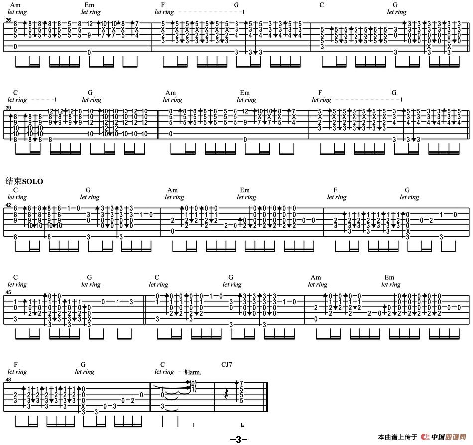 光辉岁月吉他谱 六线谱 指弹谱 器乐乐谱 中国曲谱网 -光辉岁月 指弹谱