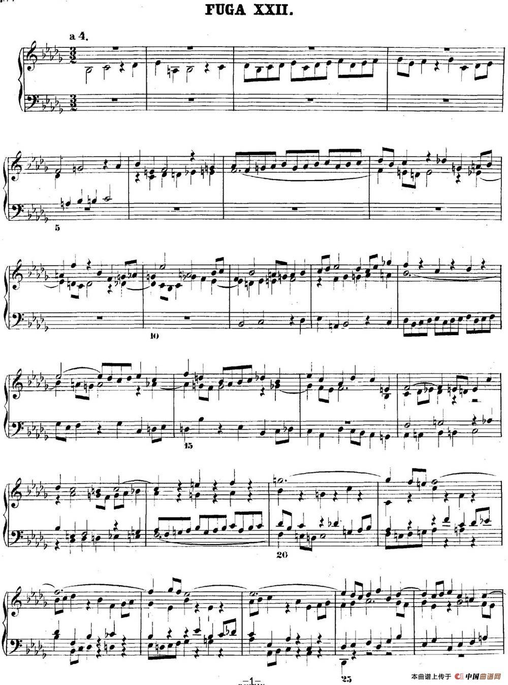 曲谱 巴赫 平均律钢琴曲集 第二卷 之赋格曲 NO.22 -巴赫 平均律钢琴曲