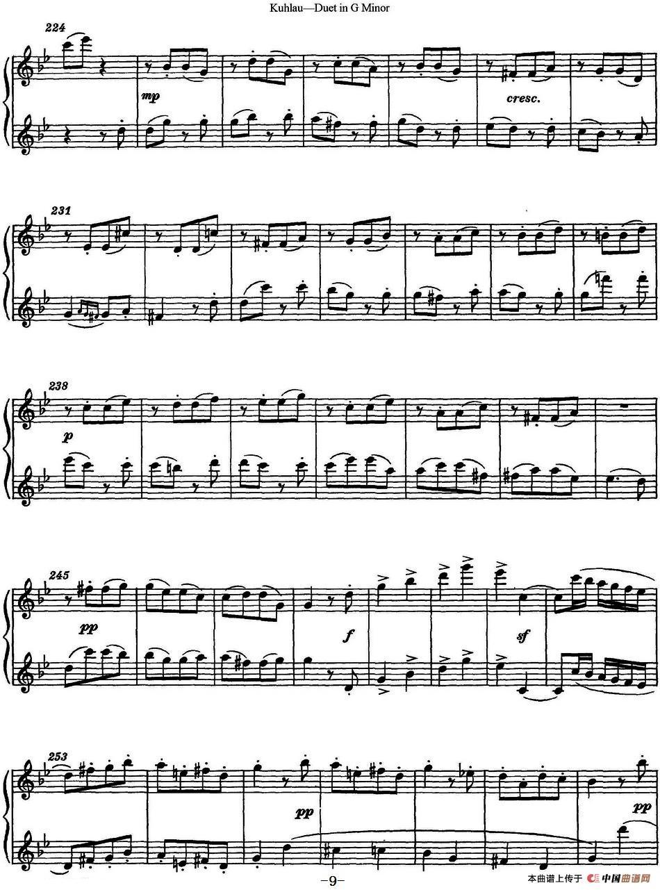 曲谱 库劳g小调长笛二重奏练习曲 No.2
