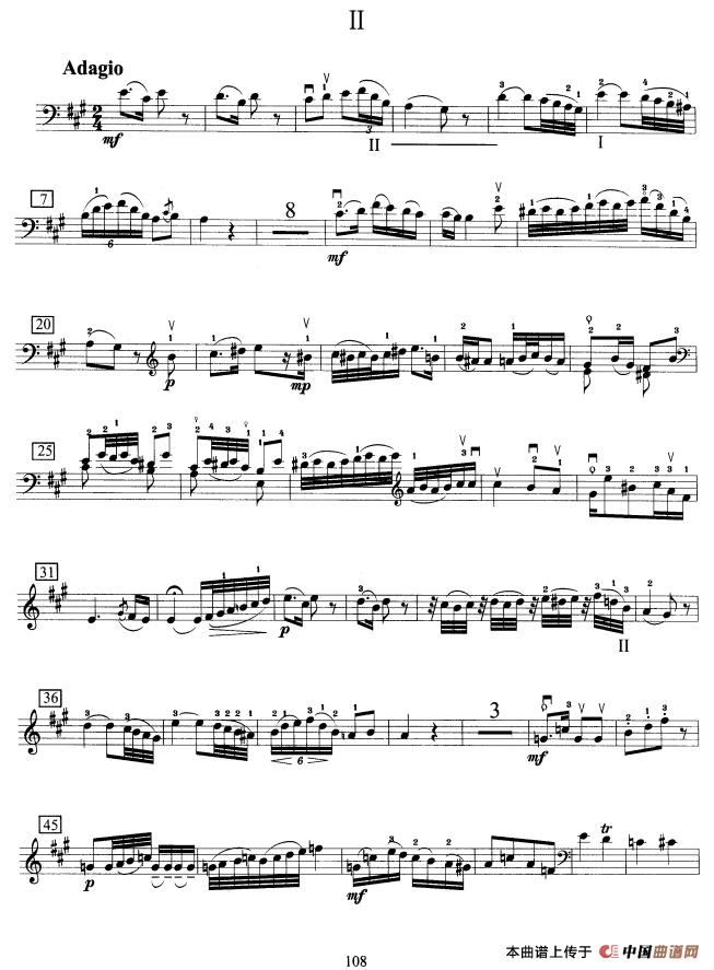 曲谱大提琴_一剪梅大提琴曲谱