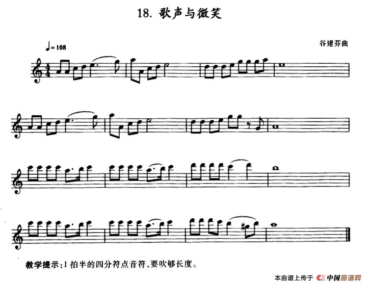 歌声与微笑萨克斯谱 器乐乐谱 中国曲谱网