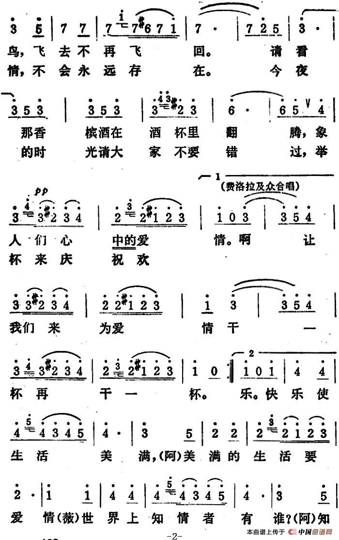 饮酒歌五线谱 歌剧 茶花女 选曲 外国曲谱 中国曲谱网