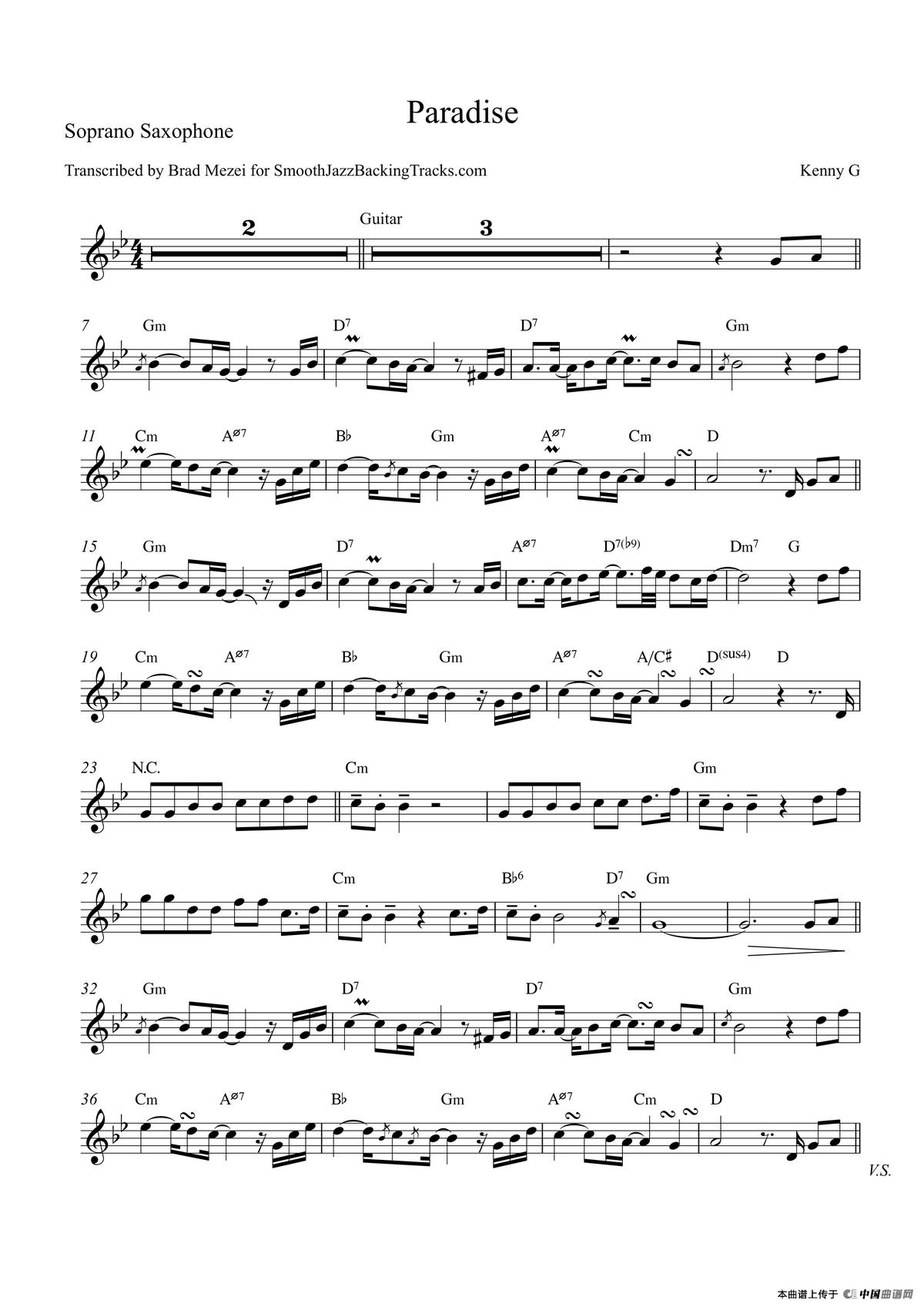 paradise萨克斯谱(高音萨克斯)_器乐乐谱_中国曲谱网