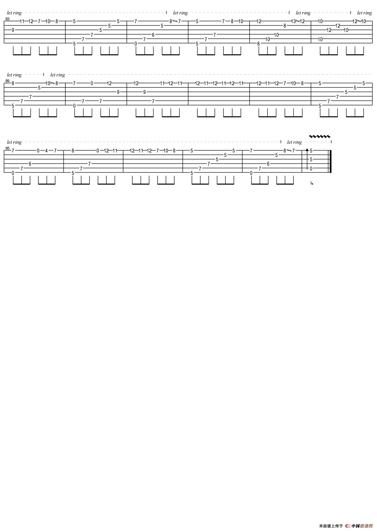 致爱丽丝(指弹独奏吉他六线谱)