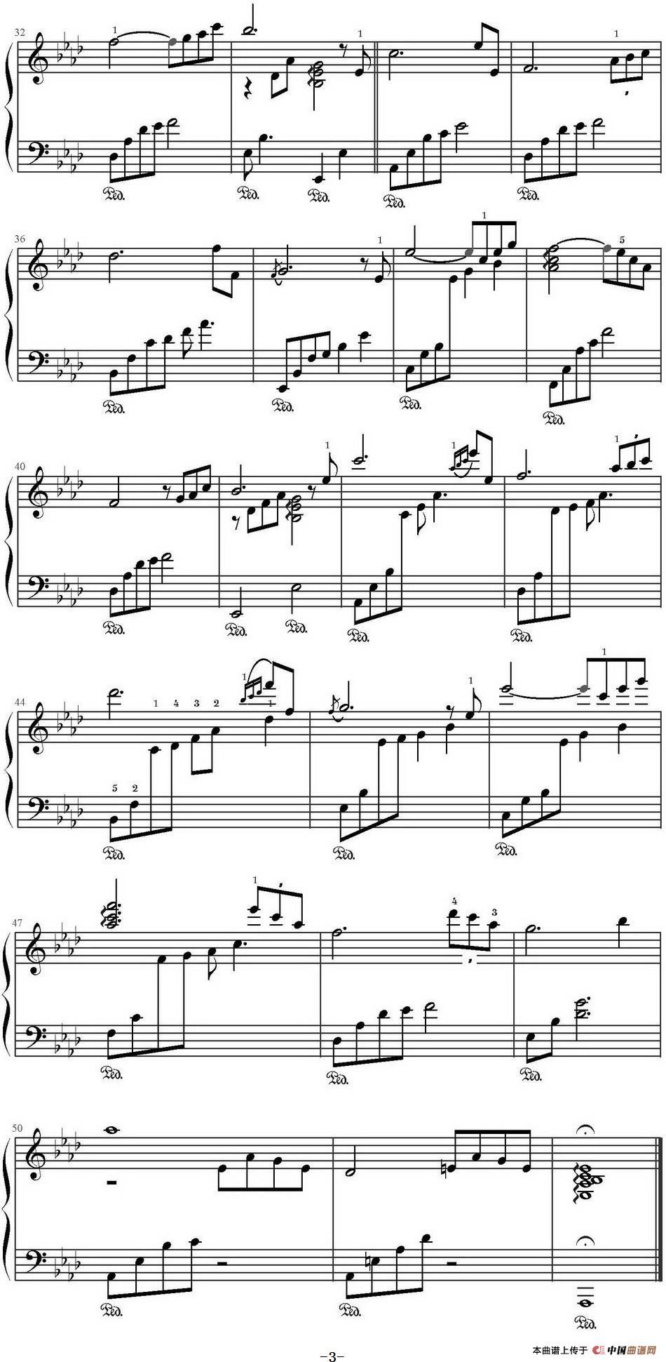 秋叶钢琴谱(文武贝编配版)_器乐乐谱_中国曲谱网图片