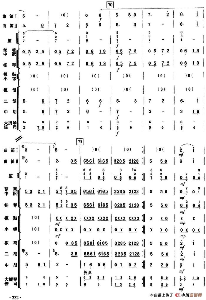 京调笛子谱 洞箫谱 曲笛二重奏 乐队伴奏总谱 器乐乐谱 中国曲谱网