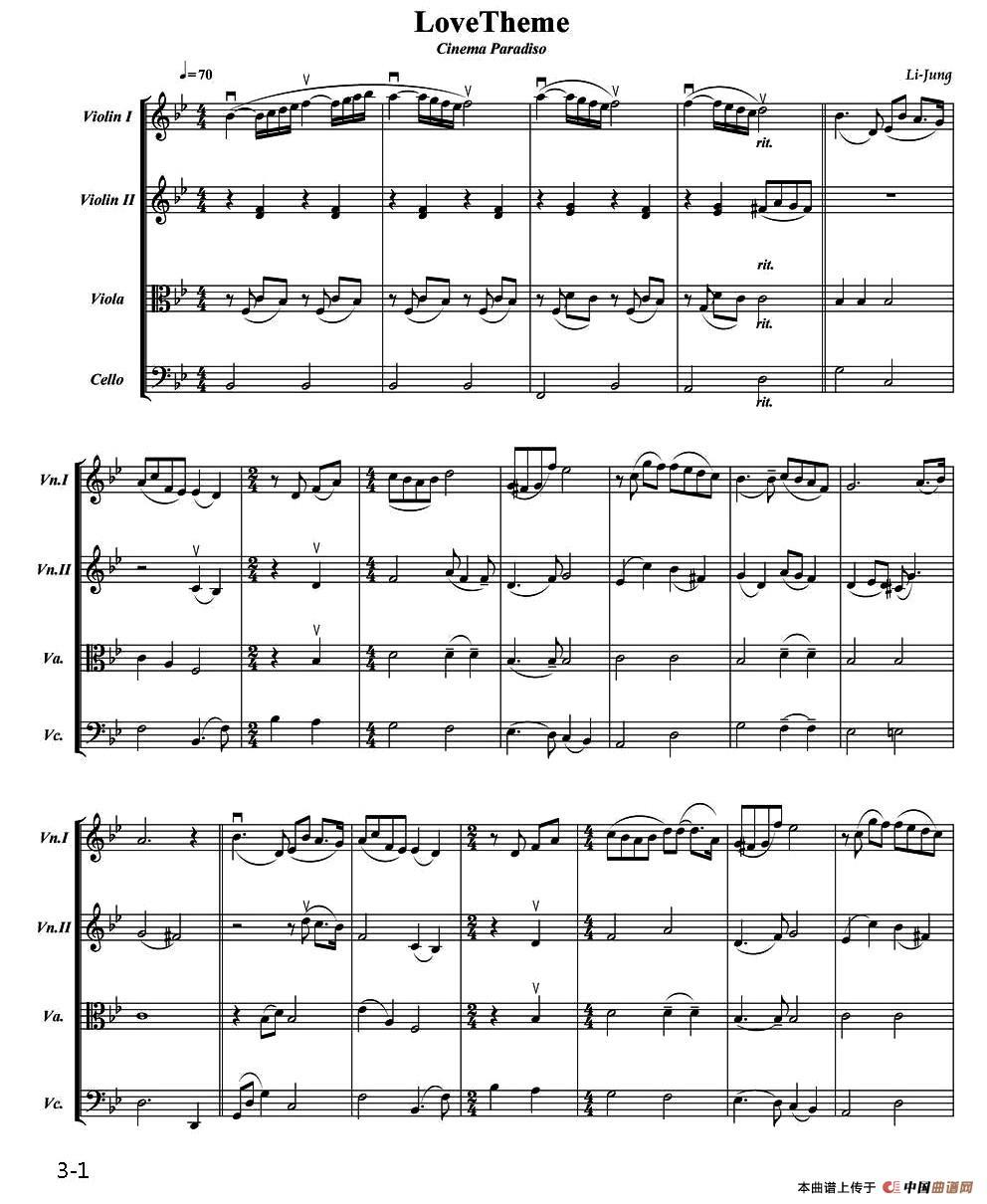 Love Theme提琴谱 弦乐四重奏 器乐乐谱 中国曲谱网
