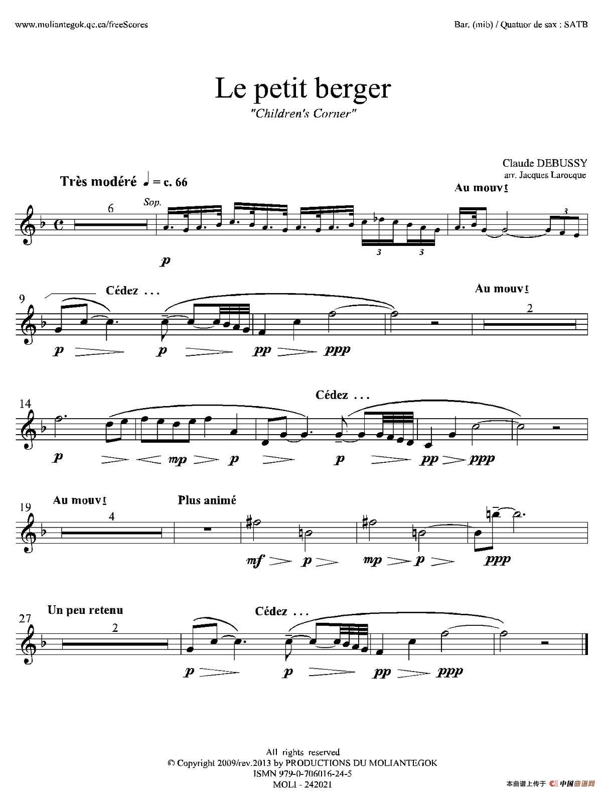 牧童(套曲《儿童乐园》之五)(四重奏上低音萨克斯分谱)     总谱请看