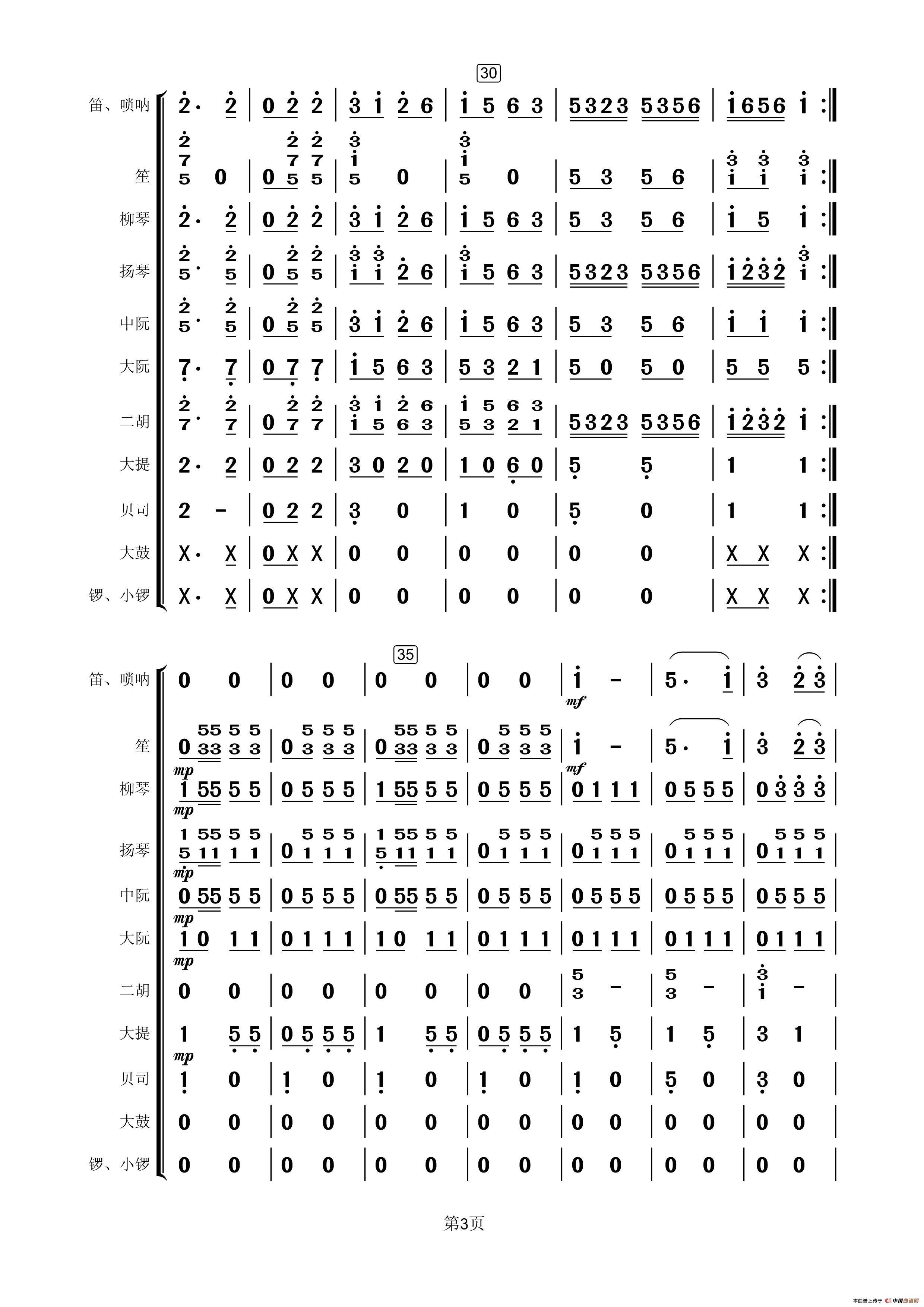 载歌载舞简谱 民乐合奏总谱 小小张666个人制谱园地 中国曲谱网