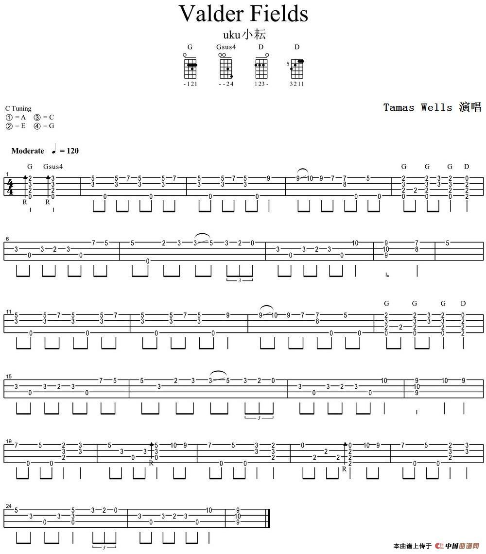 首页 器乐乐谱 吉他乐谱 valder fields(尤克里里指弹谱)  发送到我的