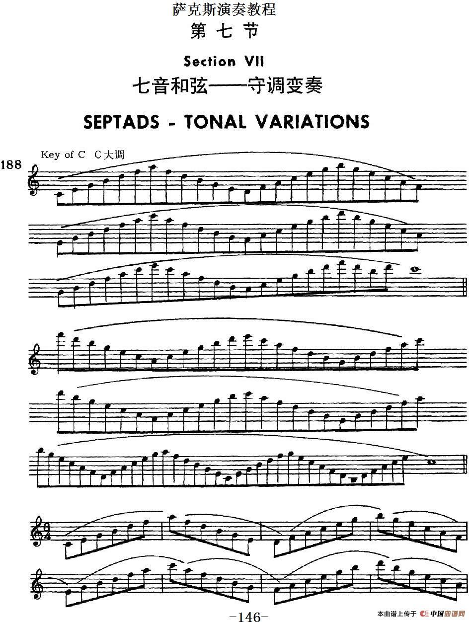 首页 器乐乐谱 萨克斯谱 萨克斯演奏教程第七节(七音和弦-守调变奏)