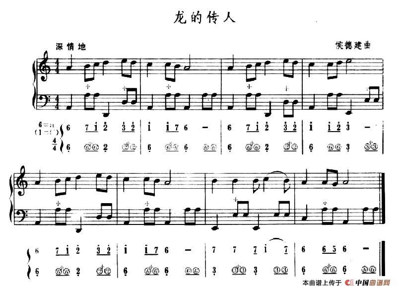 传人手风琴谱 五线谱 简谱 器乐乐谱 中国曲谱网图片