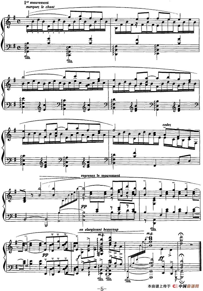 现代钢琴曲:13,帕凡舞曲钢琴谱_器乐乐谱_中国曲谱网图片