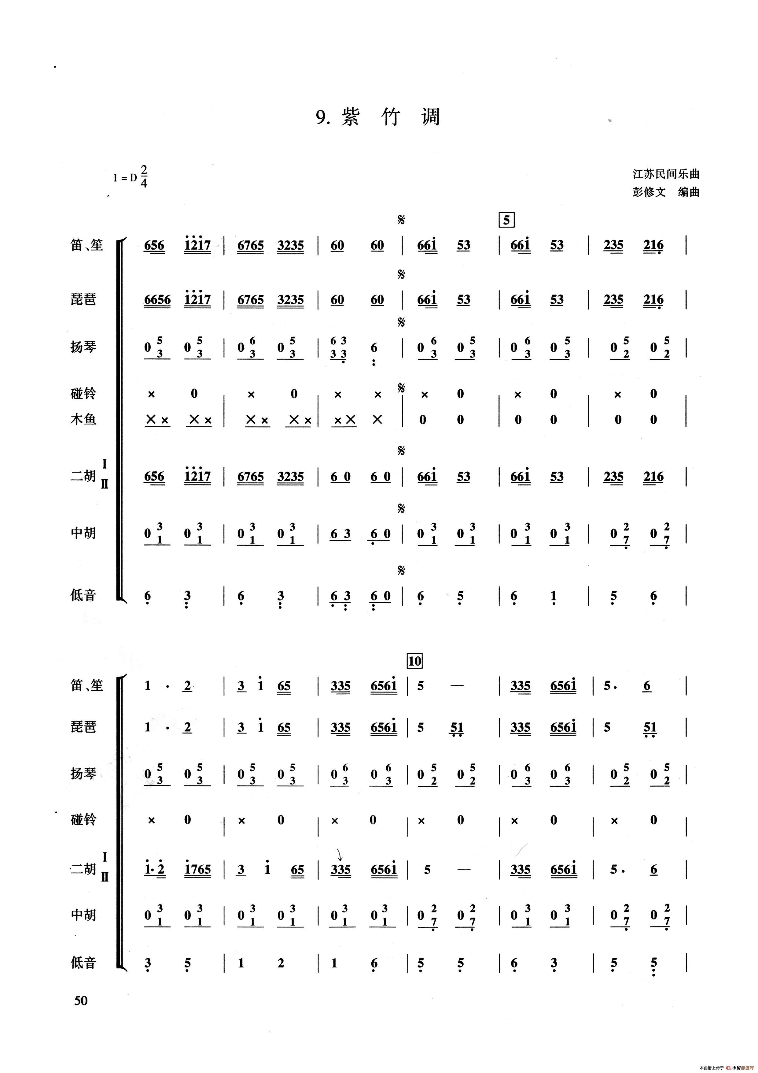 紫竹调(民乐合奏总谱,彭修文编曲版)图片