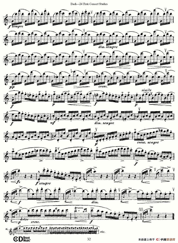曲谱 Bach 24 Flutc Concert Studies 之16 19 巴赫 24首长笛音乐会练习