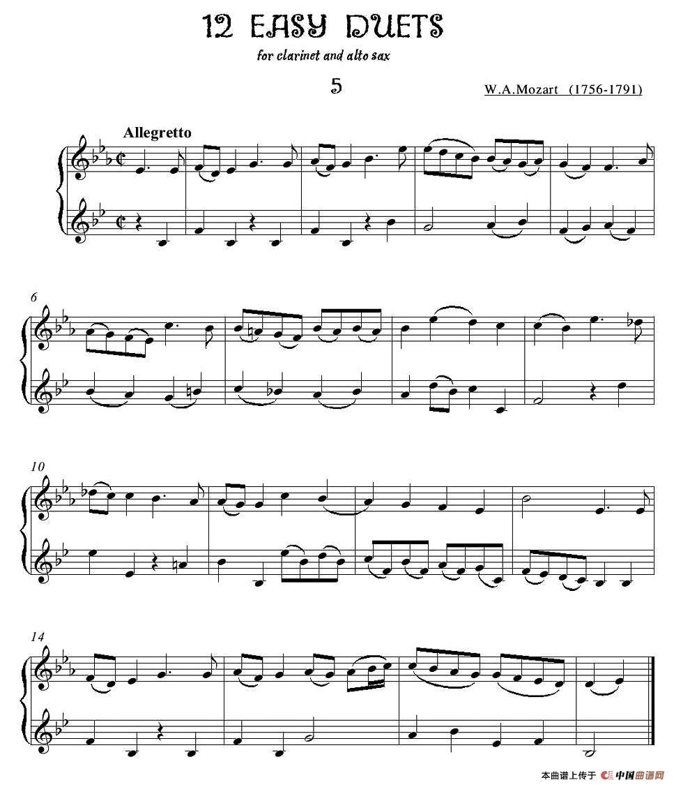 12首单簧管萨克斯重奏之五萨克斯谱 器乐乐谱 中国曲谱网