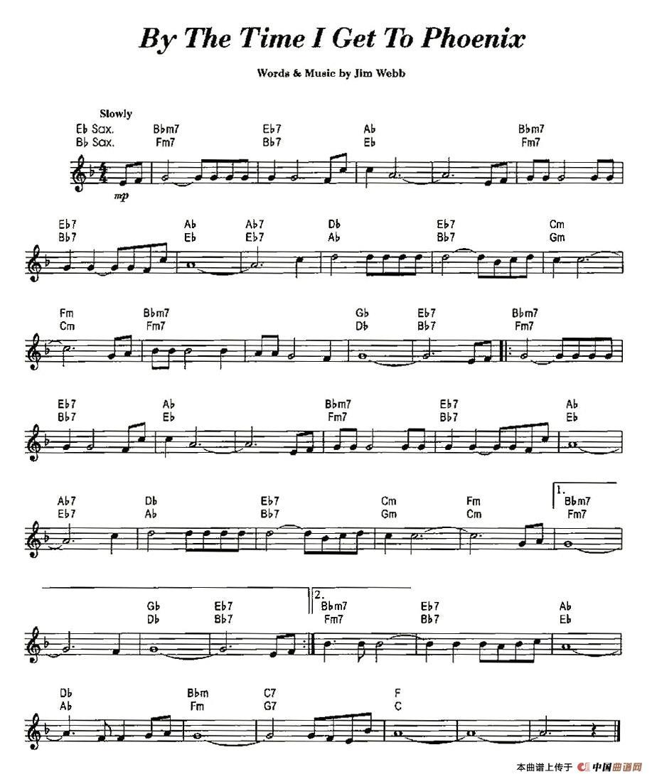 Phoenix萨克斯谱 器乐乐谱 中国曲谱网图片